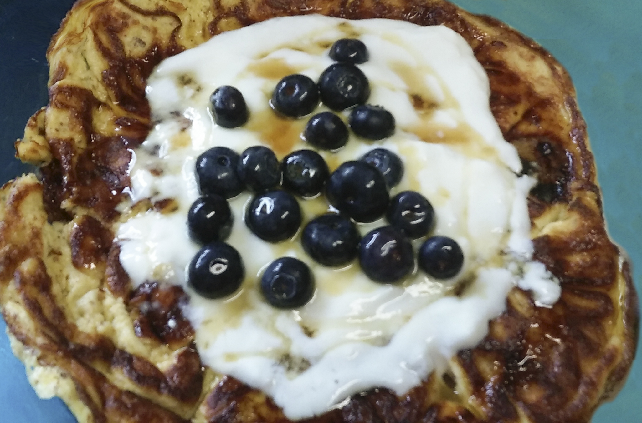 Almond Flour Banana Pancakes with Blueberries on Top