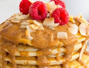 Pancakes drizzled with Almond Butter