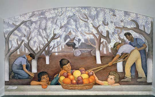 Still Life and Blossoming Almond Trees