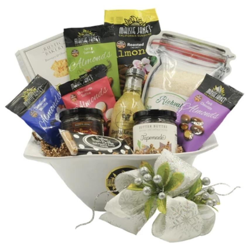 White Elegance Salad Bowl Gift Basket
