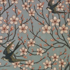 Almond Blossom and Sparrow wallpaper by Walter Crane