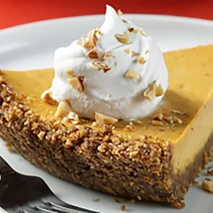 Almond Crusted Pumpkin Cheesecake Pie