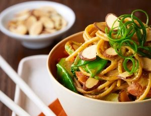 Vegetables and noodles with almond sauce