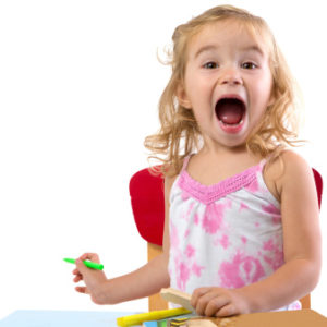 Excited toddler girl