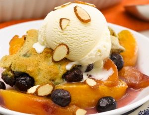 Almond Peach Cobbler