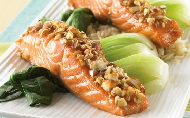 Maple Baked Salmon with Almonds