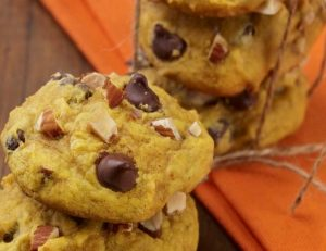 Pumpkin Almond Chocolate Chip Cookies