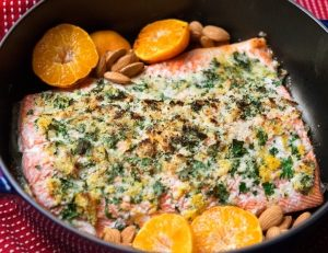 Roasted Salmon with Almonds