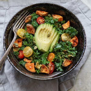 winter kale salad with almond butter dressing
